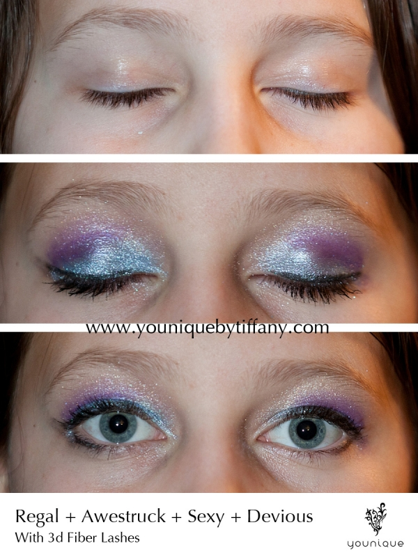 younique products mineral eye pigments before and after with 3d fiber lashes