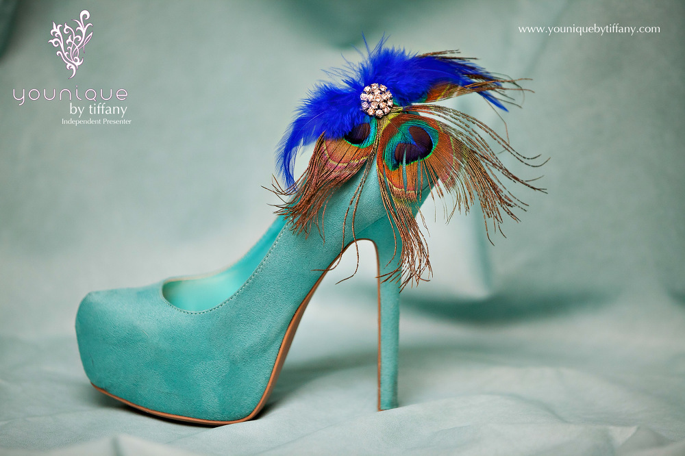 Younique Shoe Jewelry Peacock on Tiffany Blue High Heels