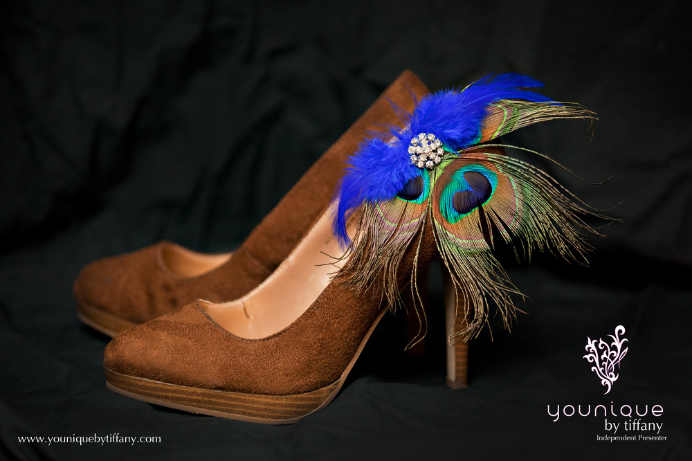 Younique Shoe Jewelry Peacock on Brown High Heel