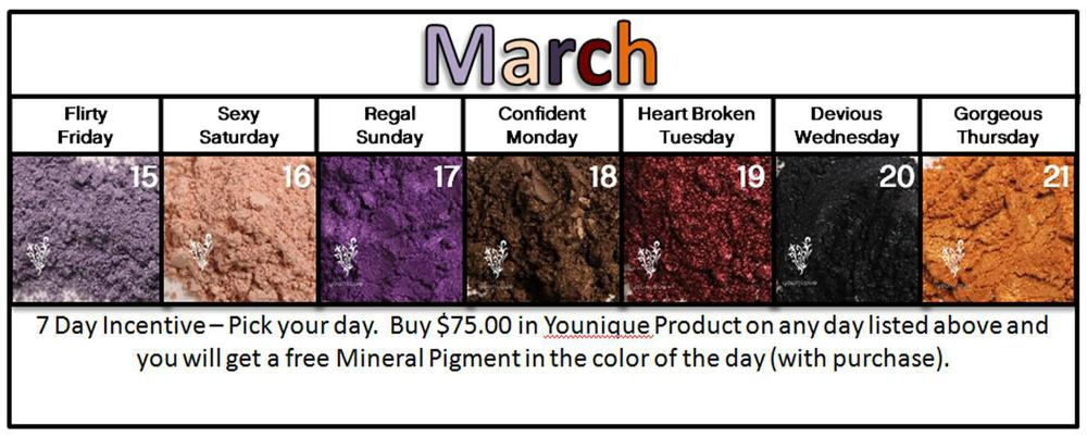 March 2013 Younique 7 day $75 promotion